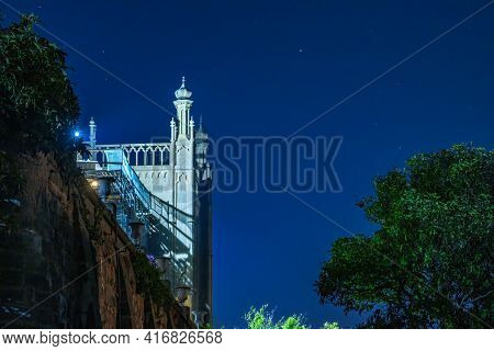 The Walls And Towers Of The Old Palace At Night On The Background Of Dark Sky. Vorontsov Palace, Or