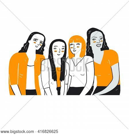 A Group Of Women Who Are Diverse In Ethnicity And Skin Color. Illustration Of A Line Art Doodle Styl