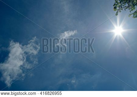 The Shining Bright Sun Like A Star Spreading Its Rays Around Shines Through The Green Foliage Of A L