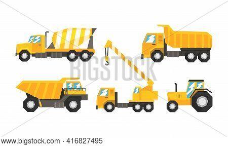 Construction And Industrial Vehicles Set, Cement Truck, Tractor, Dump Truck, Crane Cartoon Vector Il