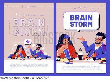 Brain Storm Cartoon Web Banners With Business People Think Idea, Teamwork. Creative Team Man And Wom