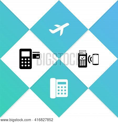 Set Pos Terminal, Telephone, Plane And Pos Icon. Vector