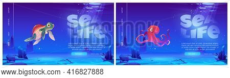Sea Life Landing Page, Scuba Diving Banner. Funny Octopus And Turtle Characters Under Water In Ocean
