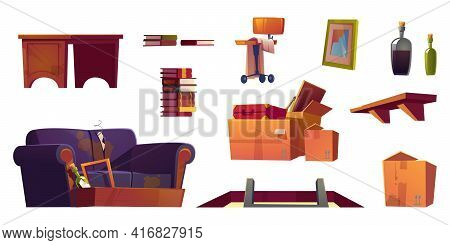 Old Furniture Stored On House Attic. Hatch With Ladder, Wooden Shelf, Sofa With Torn Upholstery And