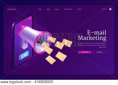 Email Marketing Banner. Concept Of Promotion And Advertising Strategy With Communication By Electron