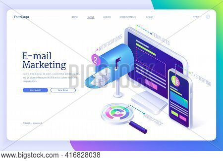E-mail Marketing Isometric Landing Page With Letter Envelopes In Mailbox Near Computer Desktop, Smar