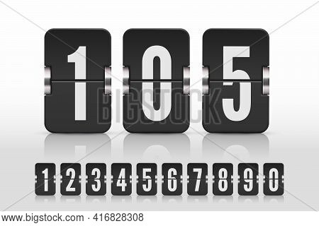 Set Of Black Flip Numbers On A Mechanical Scoreboard With Reflection. Vector Template For Your Desig