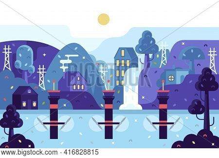 Vector Cartoon 2d Illustration In Flat Cartoon Stile - Panorama With Tidal Power Plant Houses Among
