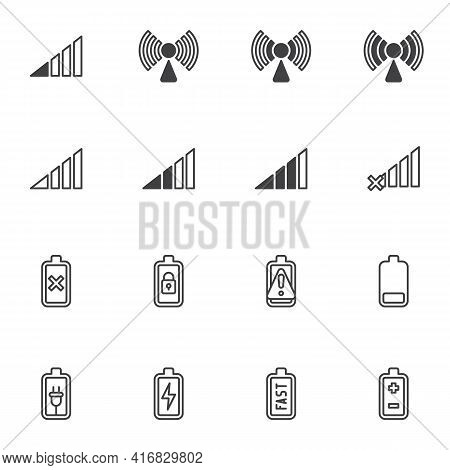 Smartphone Ui Line Icons Set, Phone Battery And Signal Outline Vector Symbol Collection, Linear Styl