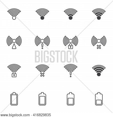 Mobile Network And Wi Fi Signal Icons Set, Phone Battery And Signal Modern Solid Symbol Collection,