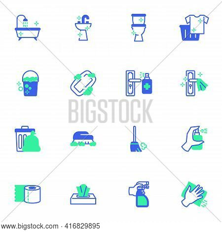Cleaning And Disinfection Vector Icons Set, Modern Solid Bicolor Symbol Collection, Filled Style Pic