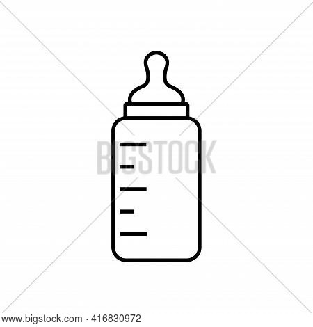 Baby Milk Bottle Line Style. Baby Milk Bottle Symbol. Nutrition In The Plastic Container For A Newbo