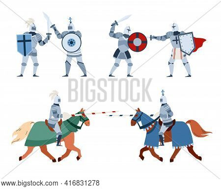 Set Of Medieval Ancient Knights In Armour, Flat Vector Illustration Isolated.