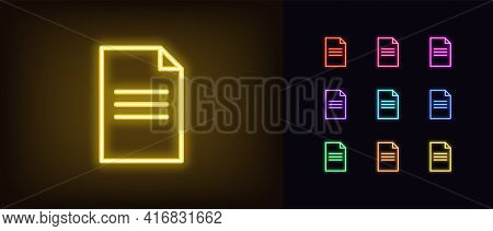 Neon Document Icon. Glowing Neon Contract Sign, Outline Doc Page Pictogram In Vivid Colors. Online D