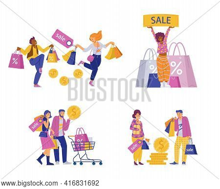 Happy Shoppers With Bags And Shopping Carts, Flat Vector Illustration Isolated.