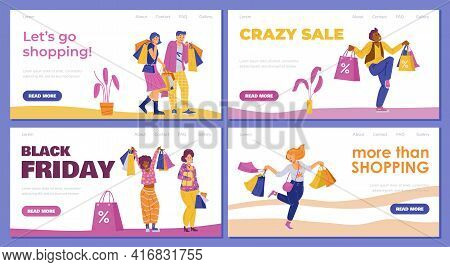 Website Banners Set For Sale And Shopping Promotion, Flat Vector Illustration.