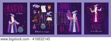 Magic And Witchcraft Cards With Wizard And Magic Items Flat Vector Illustration.