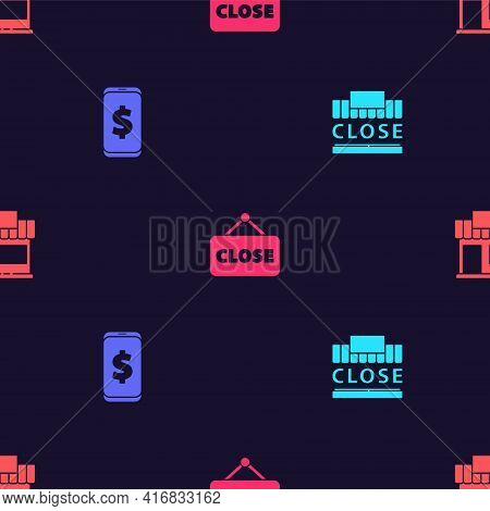 Set Shopping Building And Text Closed, Smartphone With Dollar, Hanging Sign Closed And Or Market Sto