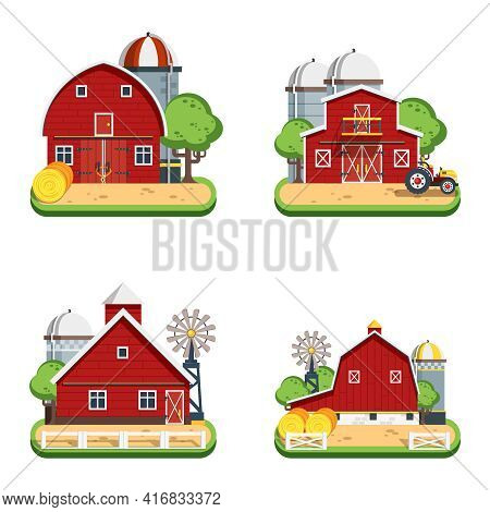 Farm Isolated Decorative Icons Set Of Wooden Farmhouses With Trees Wind Turbine Tractor Elevator Fla