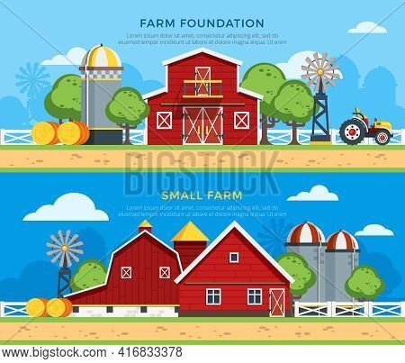 Two Farm Flat Horizontal Banners With Farm Foundation And Small Farm Icons Collections On Countrysid