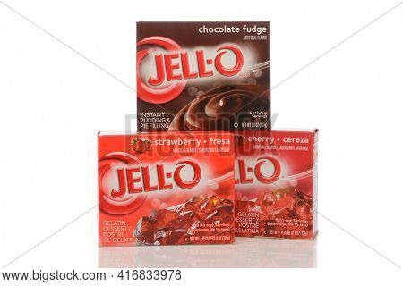 IRVINE, CALIFORNIA - MAY 22, 2019:  three Boxes of Jell-O Gelatin and Chocolate Pudding.