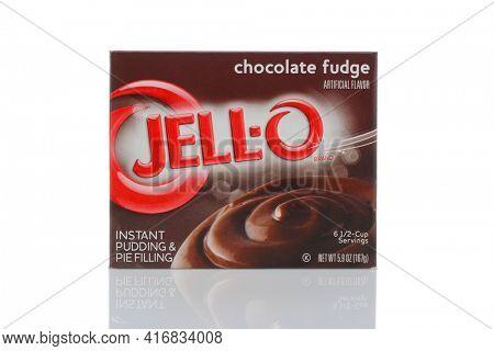 IRVINE, CALIFORNIA - MAY 22, 2019:  A box of Jell-O Chocolate Fudge Pudding dessert.