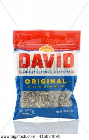IRVINE, CALIFORNIA - MAY 23, 2019:  A package of David Original Salted and Roasted Sunflower Seeds, from Conagra Brands.