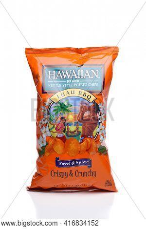 IRVINE, CALIFORNIA - 25 MAY 2020: A bag of Hawaiian Brand Kettle Style Luau BBQ Potato Chips