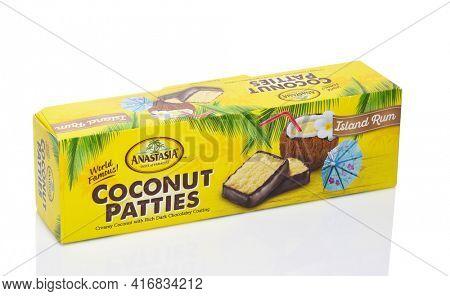 IRVINE, CALIFORNIA - 28 SEPT 2019: A box of Anastasia Island Rum Coconut Patties.
