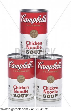 IRVINE, CALIFORNIA - 8 APRIL 2020:  Three Cans of Campbells Chicken Noodle Soup.