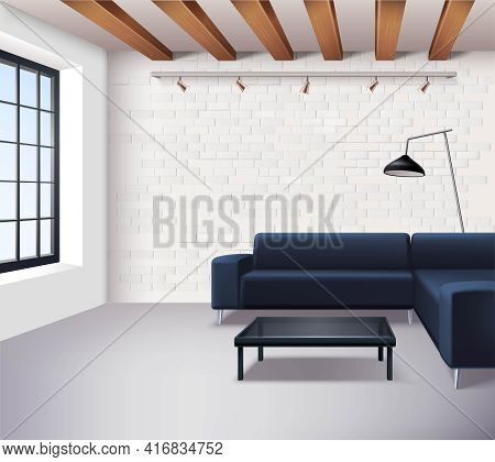 Realistic Loft Interior Concept In Minimalistic Style With Sofa Coffee Table Window Lamps And Light
