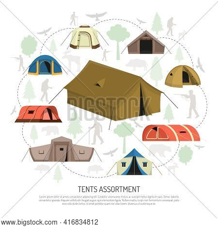 Camping Tents For Every Purpose And Capacity Including Tunnel Dome Pyramid Models Circle Composition