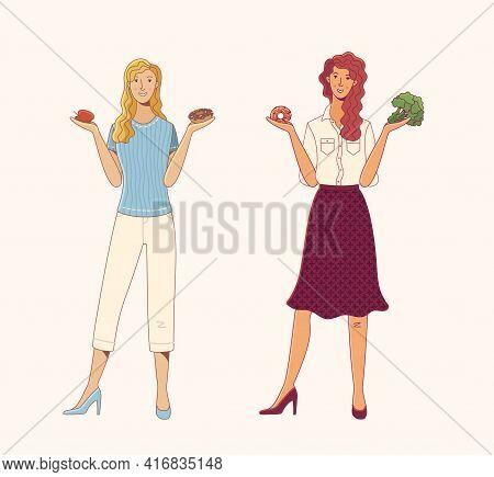 Young Women Choosing Between Healthy And Junk Food Cartoon Illustration