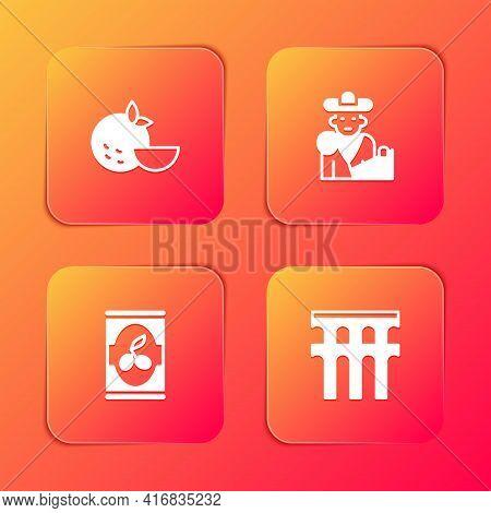 Set Orange Fruit, Bullfight, Matador, Olives In Can And Aqueduct Of Segovia Icon. Vector