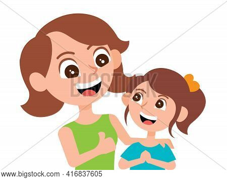 Happy Mom Showing Thumb Up Hand To Praise Smiling Daughter. Little Girl Feeling Touch With Mom