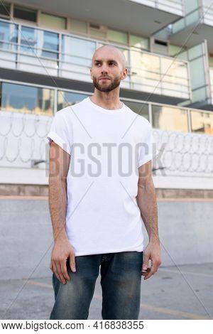 Basic white t-shirt menrsquo;s fashion apparel outdoor shoot