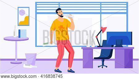 Guy Drinks Alcohol Alone During Work In Office. Addicted Male Character With Vodka At His Workplace