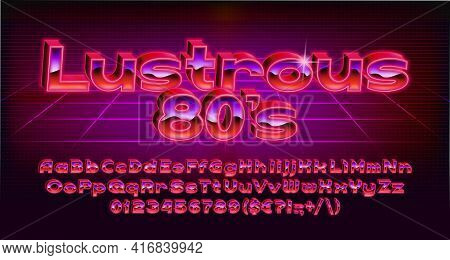 Lustrous 80s Alphabet Font. 3d Red Light Letters, Numbers And Punctuations In 80s Style. Uppercase A