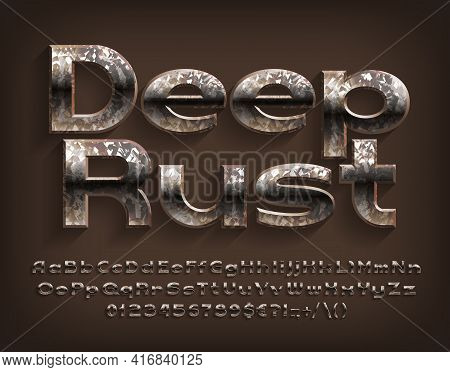Deep Rust Alphabet Font. Messy Beveled Letters, Numbers And Punctuations. Uppercase And Lowercase. S