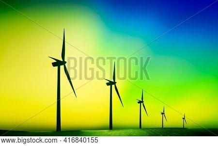 Wind turbine farm on beautiful sky