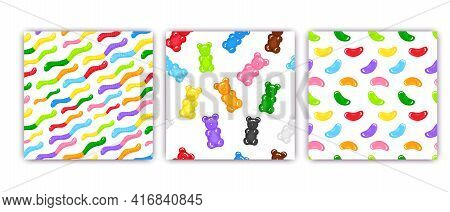 3 Gummy Bear, Jelly Worms And Beans Sweet Candy Seamless Pattern Set With Amazing Flavor Flat Style