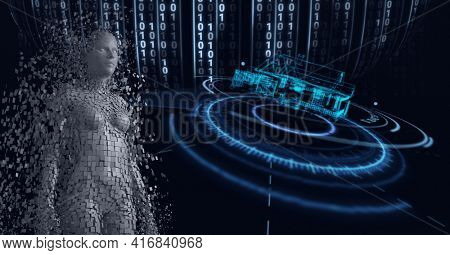 Composition of grey human digital model over scope scanning and binary coding processing. global technology, digital interface and data processing concept digitally generated image.