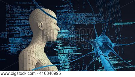 Composition of human digital head over neuron cell and data processing. global technology, digital interface and data processing concept digitally generated image.