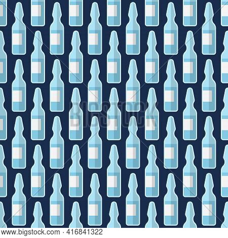 Seamless Pattern With Glass Ampules. Icons, Isolated On Dark Blue Background. Medical Items. Vector