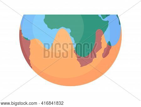 Global Warming, Planet Drying And Climate Change Concept. Half Planet, Globe With Dried Part