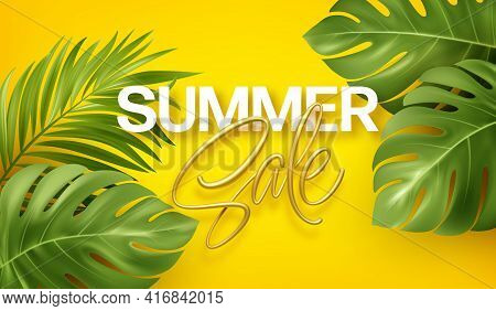 Golden Lettering Summer Sale On Bright Yellow Summer Background With Tropical Realistic Monstera And