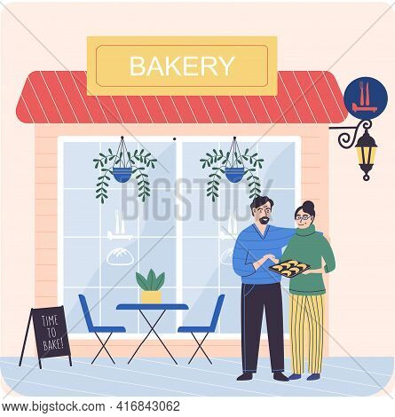 Couple Of Bakers Next To Bakery Shop Building Facade. Baking Store, Bread, Pastry And Dessert Shop