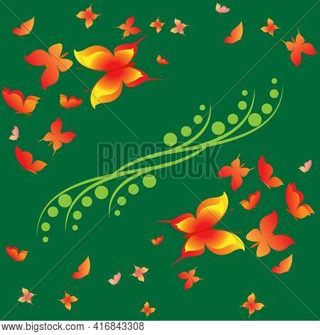 Summer Romantic Pattern With Butterflies On Green. Decorative Colorful Elegant Romantic Seamless Pat