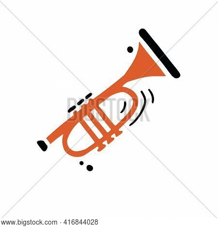 Simple Vector Illustration Of Classic Wind Instrument Called Trumpet Hand Drawn In Minimalist Flat S