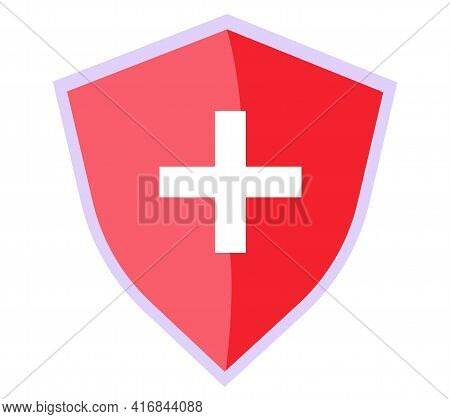 Human Medicine And Health System Symbol. Healthcare Icon. White Medical Cross On Red Background